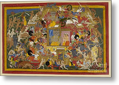 Battle Scene At Lanka Metal Print by British Library