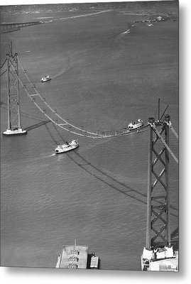 Bay Bridge Under Construction Metal Print by Charles Hiller