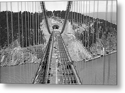 Bay Bridge Under Construction Metal Print by Underwood Archives