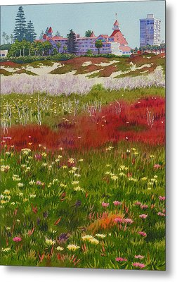 Beach Flowers At The Del Metal Print by Mary Helmreich
