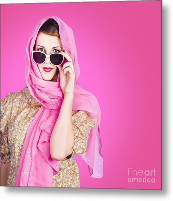 Beautiful Woman Wearing Pink Headscarf Fashion Metal Print by Jorgo Photography - Wall Art Gallery