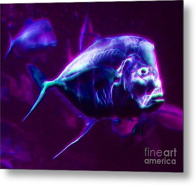 Big Fish Small Fish - Electric Metal Print by Wingsdomain Art and Photography