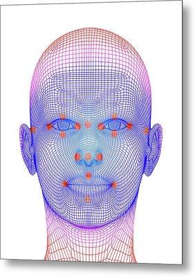 Biometric Facial Map Metal Print by Alfred Pasieka