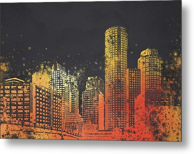 Boston City Skyline Metal Print by Aged Pixel