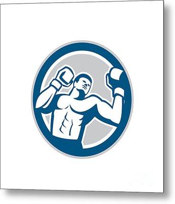 Boxer Boxing Boxing Circle Retro Metal Print by Aloysius Patrimonio