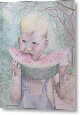 Boy With Watermelon Metal Print by Kathy Weidner
