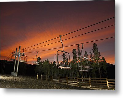 Breckenridge Chairlift Sunset Metal Print by Michael J Bauer