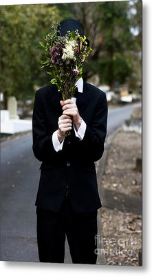 Burying Face In Funeral Flowers Metal Print by Jorgo Photography - Wall Art Gallery