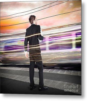 Business Man At Train Station Railway Platform Metal Print by Jorgo Photography - Wall Art Gallery