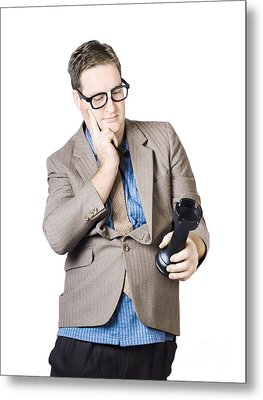 Businessman Holding Rook Metal Print by Jorgo Photography - Wall Art Gallery