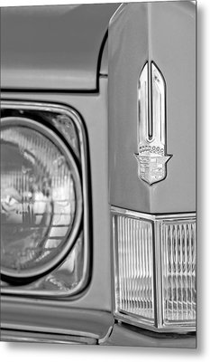 Cadillac Headlight Emblem Metal Print by Jill Reger