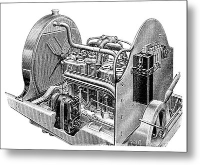 Car Engine And Magneto Metal Print by Science Photo Library