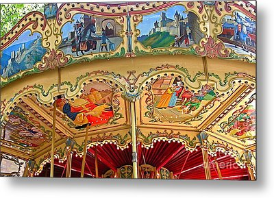 Carcassonne Carousel Metal Print by France  Art