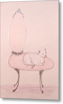 Cat On A Vanity Chair Metal Print by Christine Corretti