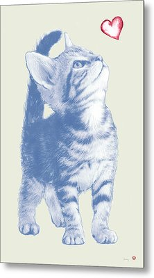 Cat With Love Hart Pop Modern Art Etching Poster Metal Print by Kim Wang