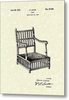 Chair 1932 Patent Art Metal Print by Prior Art Design
