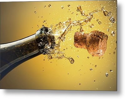 Champagne Bottle And Cork Metal Print by Ktsdesign