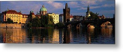 Charles Bridge Vltava River Prague Metal Print by Panoramic Images