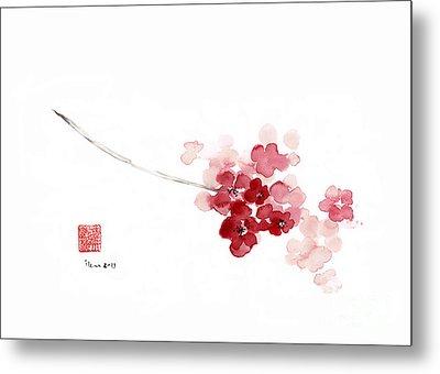Cherry Blossom Sakura Pink Flower Flowers Delicate Branch Brown Watercolor Painting Metal Print by Johana Szmerdt