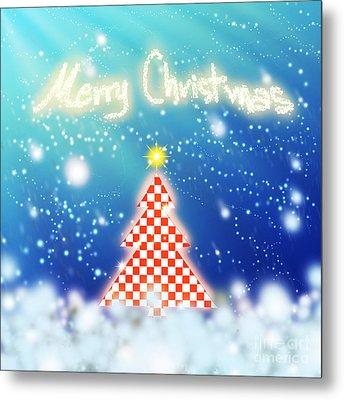 Chess Style Christmas Tree Metal Print by Atiketta Sangasaeng