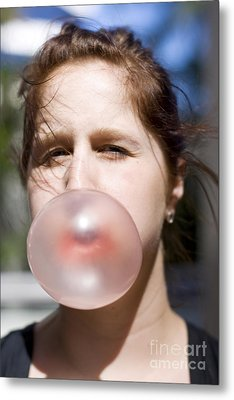 Chewing Gum Lady Metal Print by Jorgo Photography - Wall Art Gallery