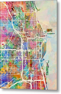 Chicago City Street Map Metal Print by Michael Tompsett
