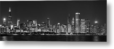 Chicago Skyline At Night Black And White Panoramic Metal Print by Adam Romanowicz