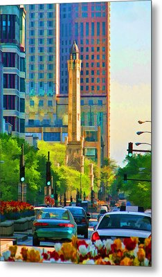 Chicago Water Tower Beacon Metal Print by Christopher Arndt
