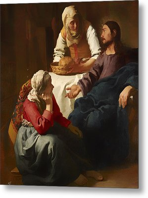 Christ In The House Of Martha And Mary Metal Print by Mountain Dreams