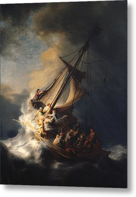Christ In The Storm On The Sea Of Galilee Metal Print by Celestial Images