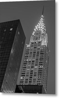 Chrysler Building Twilight Bw Metal Print by Susan Candelario
