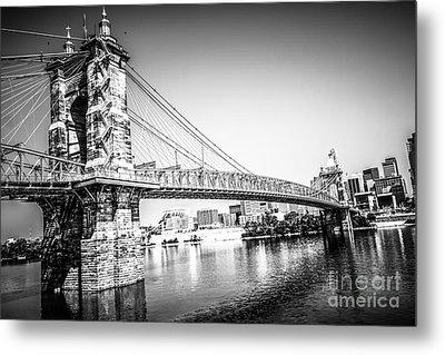 Cincinnati Roebling Bridge Black And White Picture Metal Print by Paul Velgos