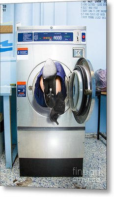 Cleaning Lady Trapped In Washing Machine Metal Print by Jorgo Photography - Wall Art Gallery