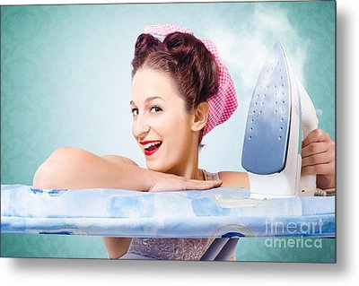 Cleaning Pin-up Housewife With Hot Clothing Iron  Metal Print by Jorgo Photography - Wall Art Gallery