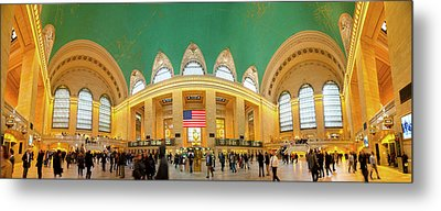 Commuters At A Railroad Station, Grand Metal Print by Panoramic Images