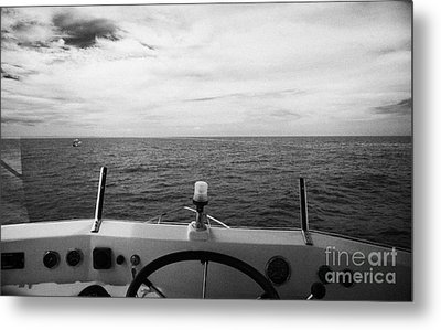 Controls On The Flybridge Deck Of A Charter Fishing Boat In The Gulf Of Mexico Out Of Key West Flori Metal Print by Joe Fox