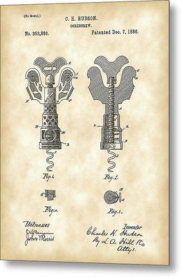 Corkscrew Patent 1886 - Vintage Metal Print by Stephen Younts