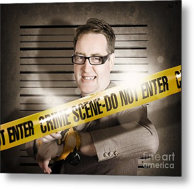 Corrupt Business Man Behind Crime Scene Tape Metal Print by Jorgo Photography - Wall Art Gallery