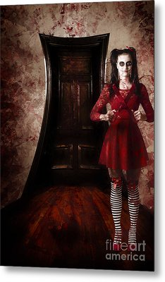 Creepy Woman With Bloody Scissors In Haunted House Metal Print by Jorgo Photography - Wall Art Gallery