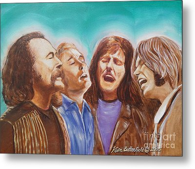Crosby Stills Nash And Young Metal Print by Kean Butterfield