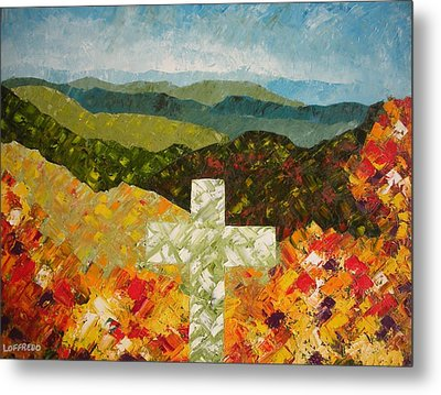 Cross Of The Colorful Ridges Metal Print by Ralph Loffredo