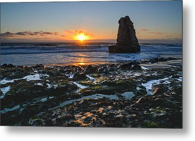 Davenport Beach Sunset 1 Metal Print by About Light  Images
