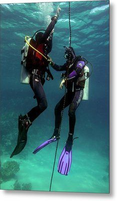 Diving Student And Instructor Metal Print by Louise Murray