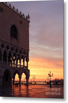 Doges Palace At Sunrise Venice Italy Metal Print by Matteo Colombo