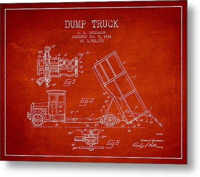 Dump Truck Patent Drawing From 1934 Metal Print by Aged Pixel
