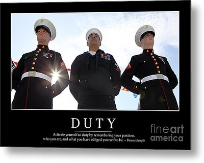 Duty Inspirational Quote Metal Print by Stocktrek Images