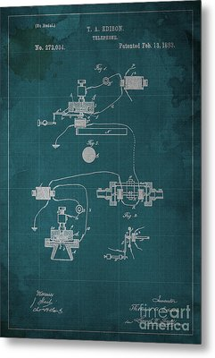 Edison Telephone Patent Blueprint 1 Metal Print by Pablo Franchi