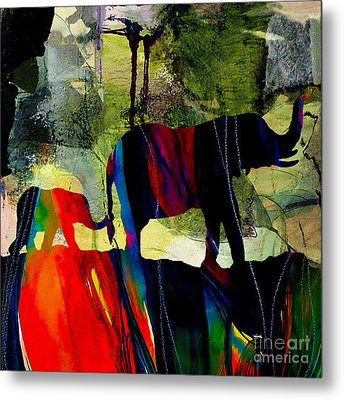 Elephant Walk Metal Print by Marvin Blaine