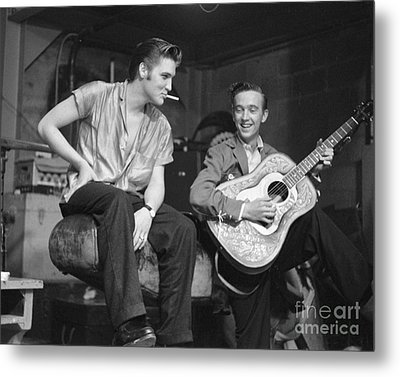 Elvis Presley And His Cousin Gene Smith 1956 Metal Print by The Phillip Harrington Collection