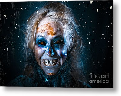 Evil Winter Monster Smiling Beneath Falling Snow Metal Print by Jorgo Photography - Wall Art Gallery